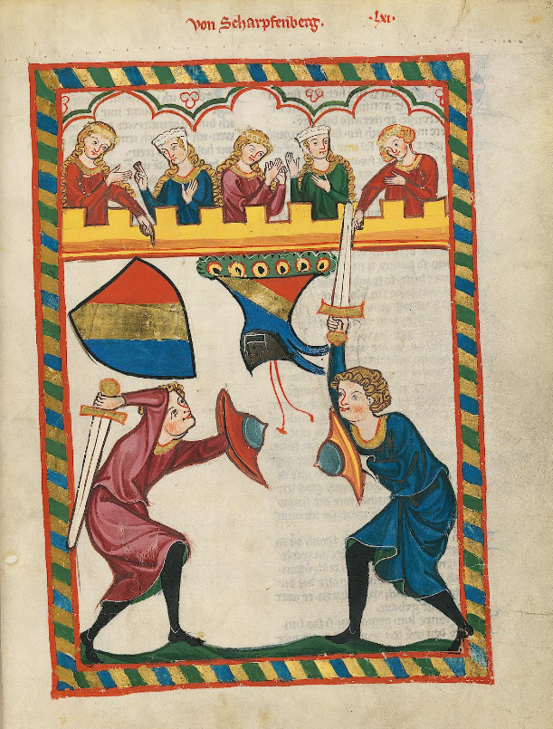 Illuminated Medieval Manuscript. Illumination. Jousting. Castle. Swords. Ladies. Admirers. Tournament. Heraldry. Fight. Victory. Defeat. Shields.