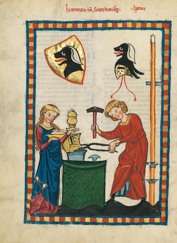 Illuminated Medieval Manuscript. Illumination. Blacksmith. Husband. Wife. Food. Meal. Spear. Love. Hammer. Helmet. Working. Repair. Shield. Heraldry.