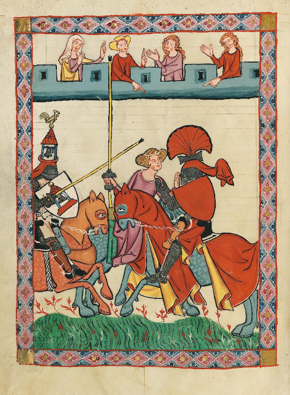 Illuminated Medieval Manuscript. Illumination. Jousting. Joust. Knights. Horses. Castle. Armors. Spears. Ladies. Lady. Admirers. Tournament. Heraldry. Shields.