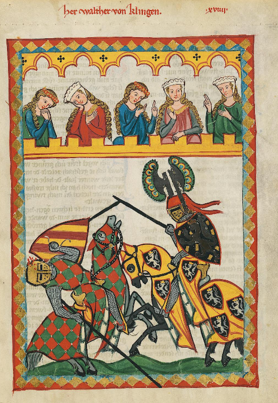 Illuminated Medieval Manuscript. Illumination. Jousting. Knights. Horses. Castle. Armors. Spears. Ladies. Admirers. Tournament. Heraldry. Fall. Victory. Defeat. Shields.