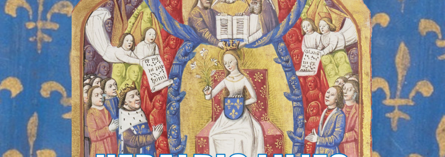 Illuminated Medieval Manuscript. Illumination. Three Fleurs-de-Lys. Heraldry. Fleur-de-Lys. Charles VII. King. King of France. Lily. Lilies. The Virgin Mary. The Holy Trinity. God. Jesus. The Holy Spirit. Angels. Neumes. Throne. Bible.