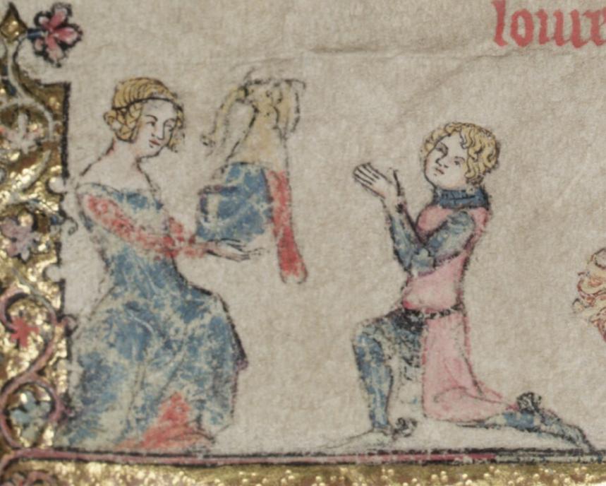 Illuminated Medieval Manuscript. Illumination. Knight. Lady. Gift. Elephant. Crest. Elephant Crest. Helmet.