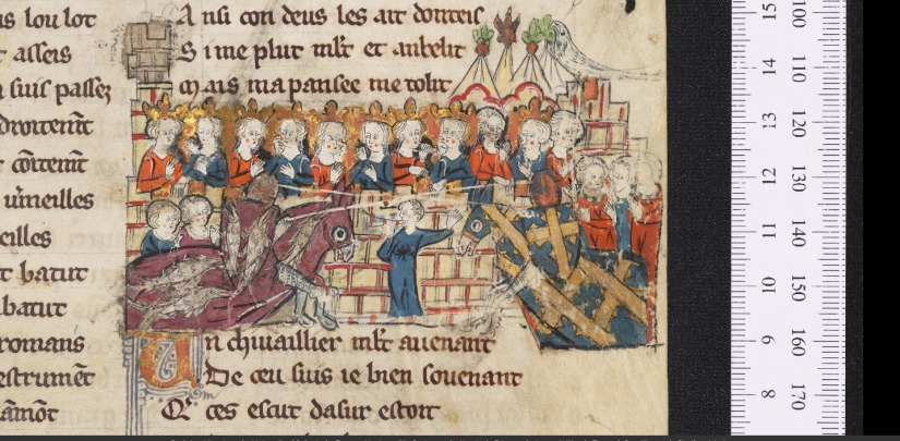 Illuminated Medieval Manuscript. Illumination. Knights. Armors. Shields. Heraldry. Spears. Jousting. Tournament. Horses. Gallop. Fight. Royalty. King. Queen. Ladies. Admirers. Castle.