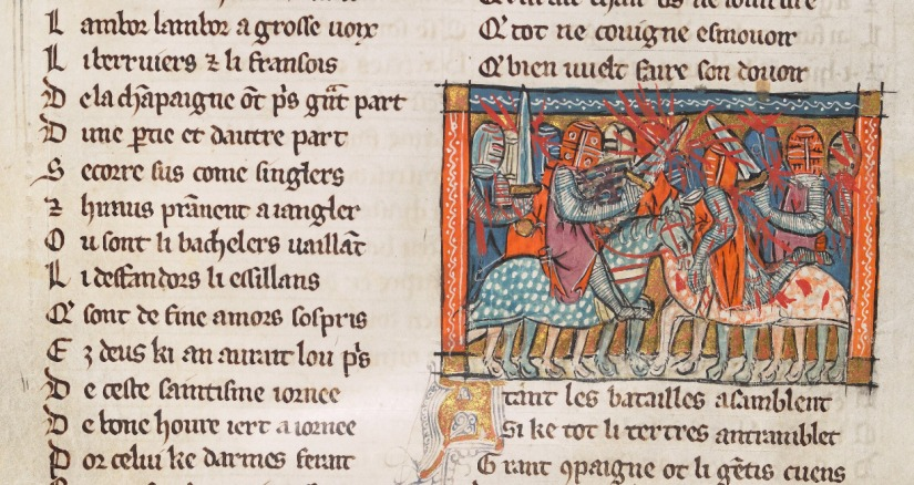 Illuminated Medieval Manuscript. Illumination. Knights. Armors. Shields. Heraldry. Swords. Jousting. Tournament. Horses. Blood. Fight. Battle. Joust. Wound.