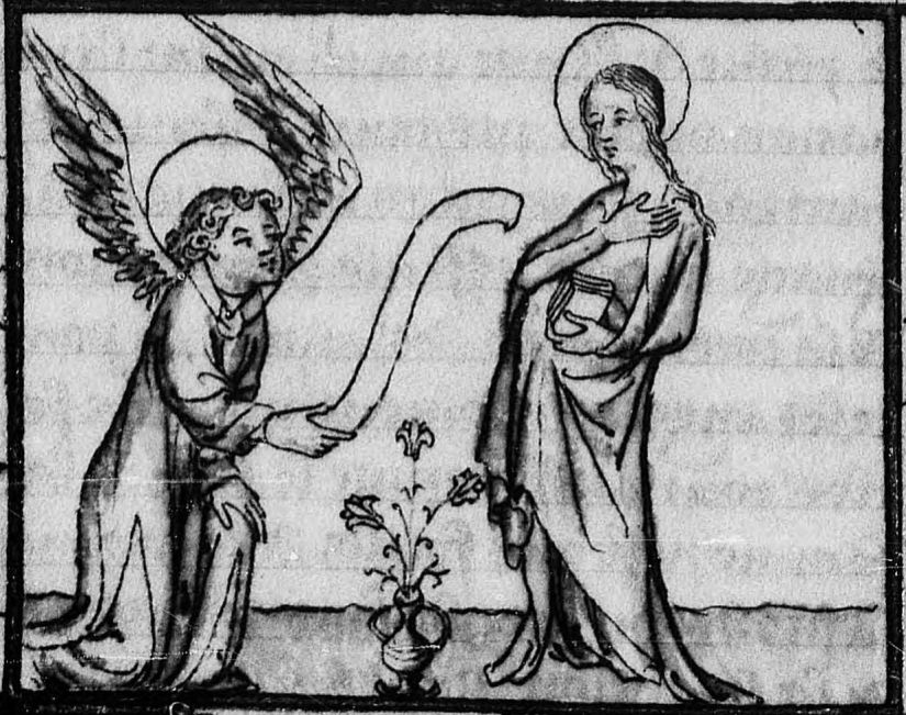 Illuminated Medieval Manuscript. Illumination. Three Fleurs-de-Lys. Heraldry. Fleur-de-Lys. Angel. The Virgin Mary. Lily. Lilies.