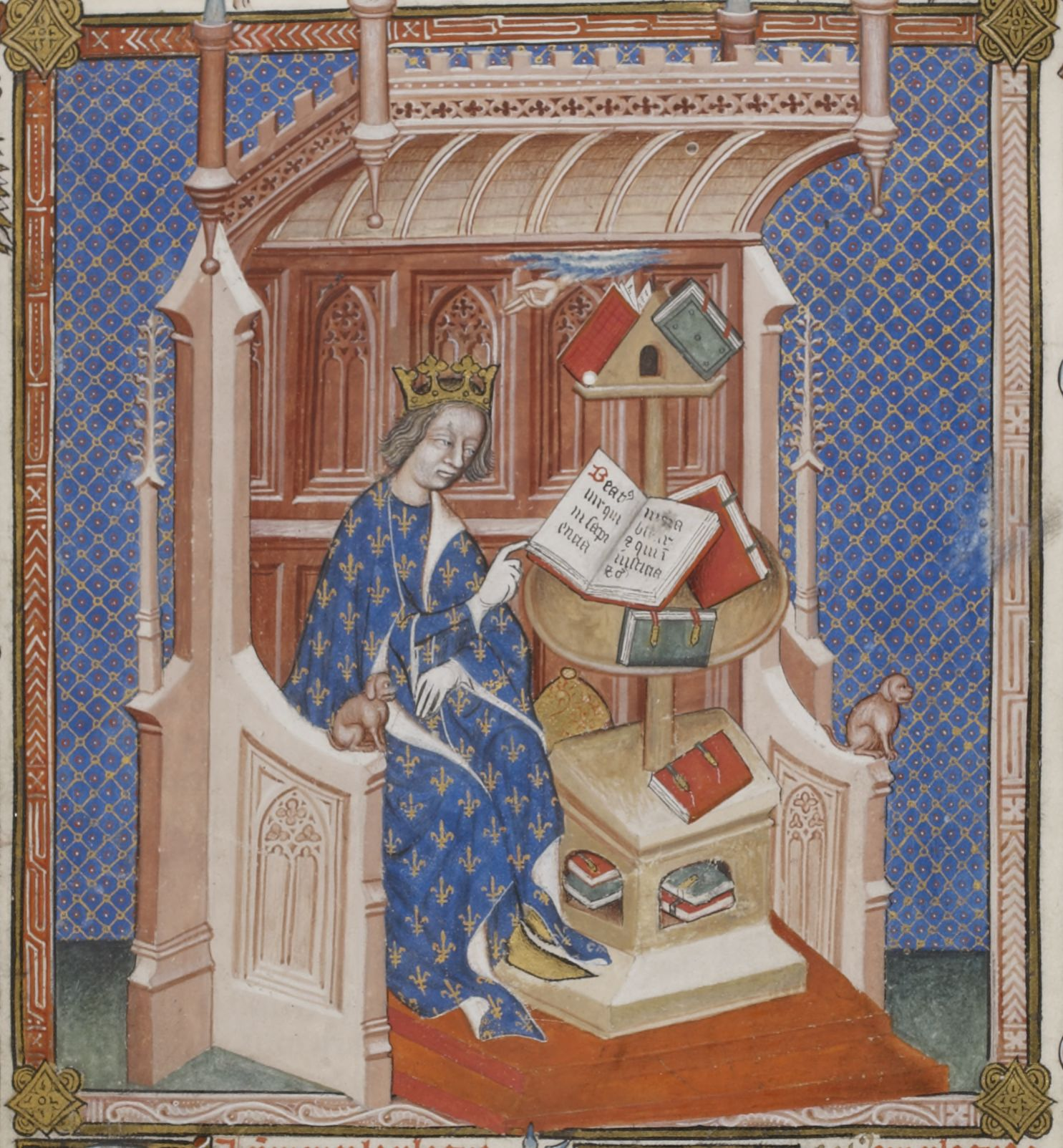 Illuminated Medieval Manuscript. Illumination. Charles V. Books. Books in the Middle Ages. Reading. Reading in the Middle Ages. King of France. Semy-de-Lys. Fleur-de-Lys. King. Heraldry. Bible. Song of Songs.