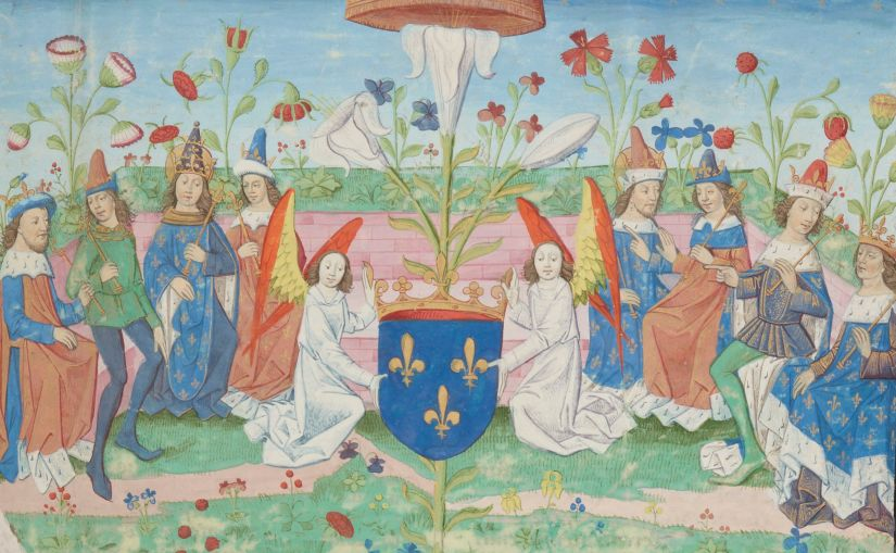 Illuminated Medieval Manuscript. Illumination. Three Fleurs-de-Lys. Heraldry. Fleur-de-Lys. King. Kings. King of France. Kings of France. Angels. Angel. Royalty. Power.