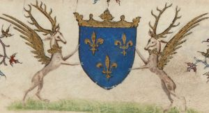 Illuminated Medieval Manuscript. Illumination. Three Fleurs-de-Lys. Heraldry. Fleur-de-Lys. Winged Deer. Deer. Coat of Arms.