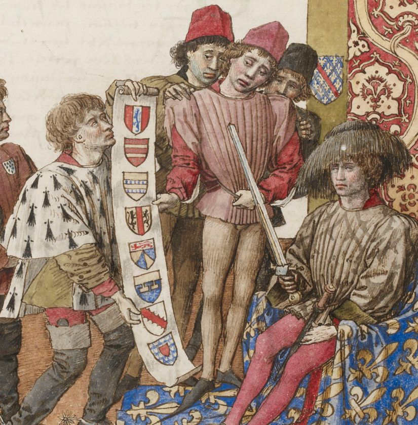 Illuminated Medieval Manuscript. Illumination. René of Anjou. René I of Naples. Good King René. King. Treaty. Tournament. Tournament Treaty. Heraldry. Lord. Semy-de-Lys. Throne. Sword. Fleur-de-Lys.