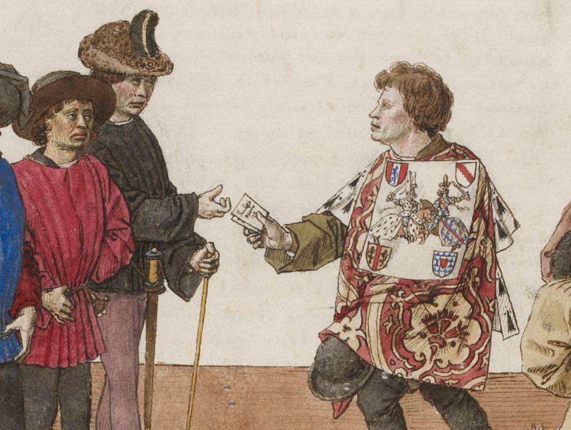 Illuminated Medieval Manuscript. Illumination. René of Anjou. René I of Naples. Good King René. King. Treaty. Tournament. Tournament Treaty. Heraldry. Lord. Sword. Horses. Knights. Jousting.