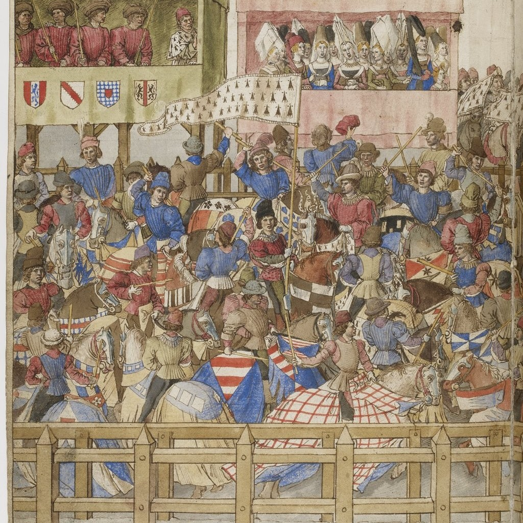 Illuminated Medieval Manuscript. Illumination. Tournament. Knights. Heraldry. Urban Celebration. Town. Flags. Flag. Horses. Joust. Ladies. Admirers. Town Square. Lords.