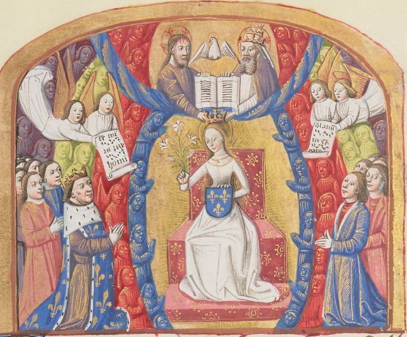 Illuminated Medieval Manuscript. Illumination. Three Fleurs-de-Lys. Heraldry. Fleur-de-Lys. Charles VII. King. King of France. Lily. Lilies. The Virgin Mary. The Holy Trinity. God. Jesus. The Holy Spirit. Angels. Throne. Bible.