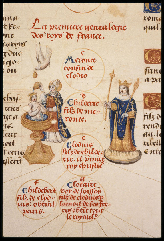 Illuminated Medieval Manuscript. Illumination. Three Fleurs-de-Lys. Heraldry. Fleur-de-Lys. Clovis. King. King of France. Baptisme. Genealogical Tree. Holy Spirit. Religion. Pope.